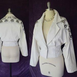 Vintage leather snakeskin beaded moto jacket